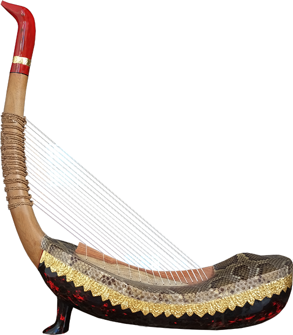 """Angkorian harp with a single foot called """"harp of Angkor Wat"""". Project manager: P. Kersalé. Makers: Leng Pohy, Thean Nga.  Multilayer acrylic lacquer: Philippe Brousseau. Stringing: P. Kersalé. Siem Reap 2019."""