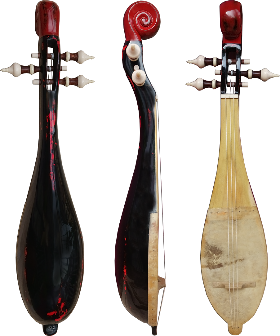 Piriform lute without frets. Project manager: P. Kersalé. Makers: Thean Nga, Leng Pohy (scroll). Multilayer acrylic lacquer: Philippe Brousseau.  Siem Reap 2018.
