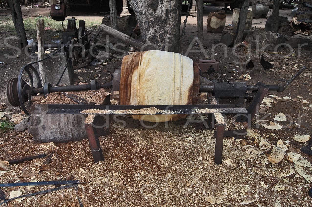 Skor thom on the wood lathe. Phnom Penh. July 2012.