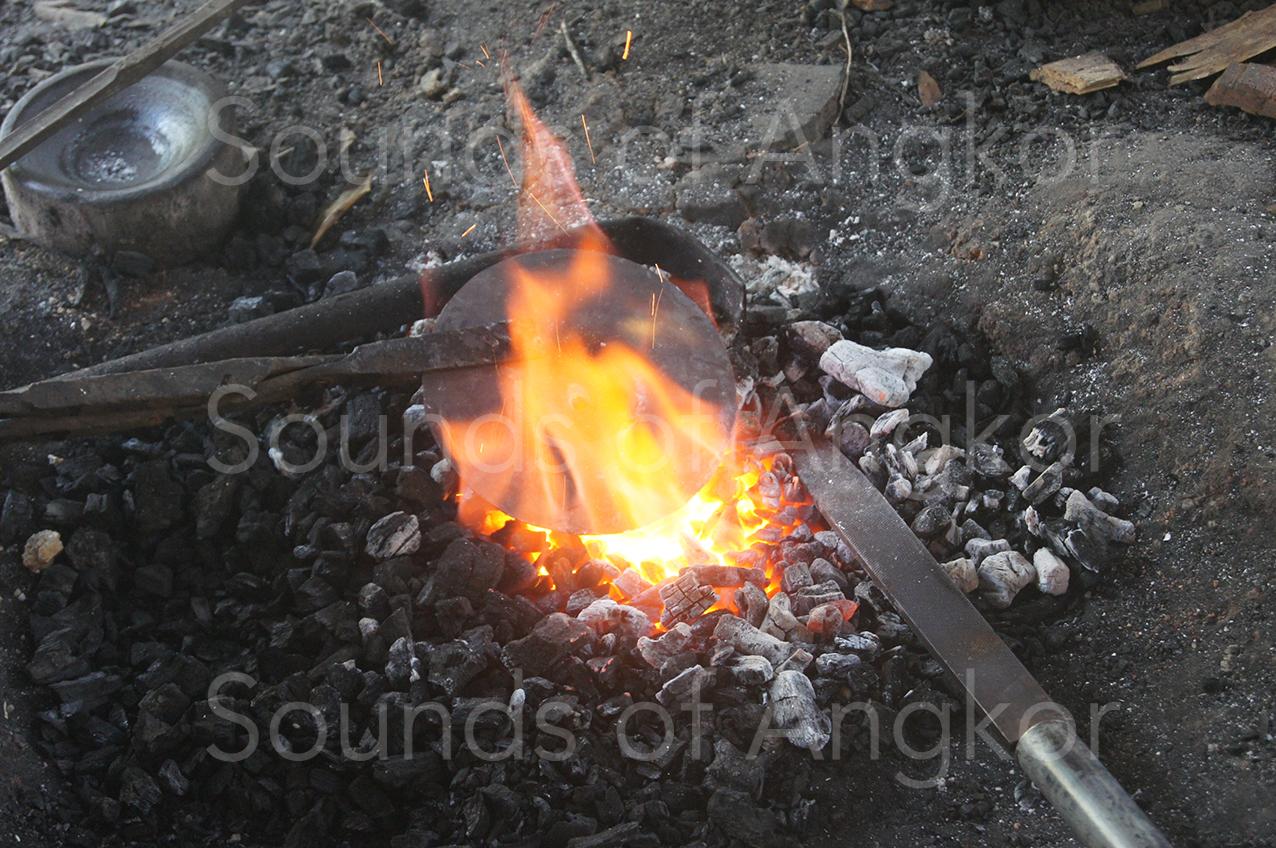 Heating a cymbal.