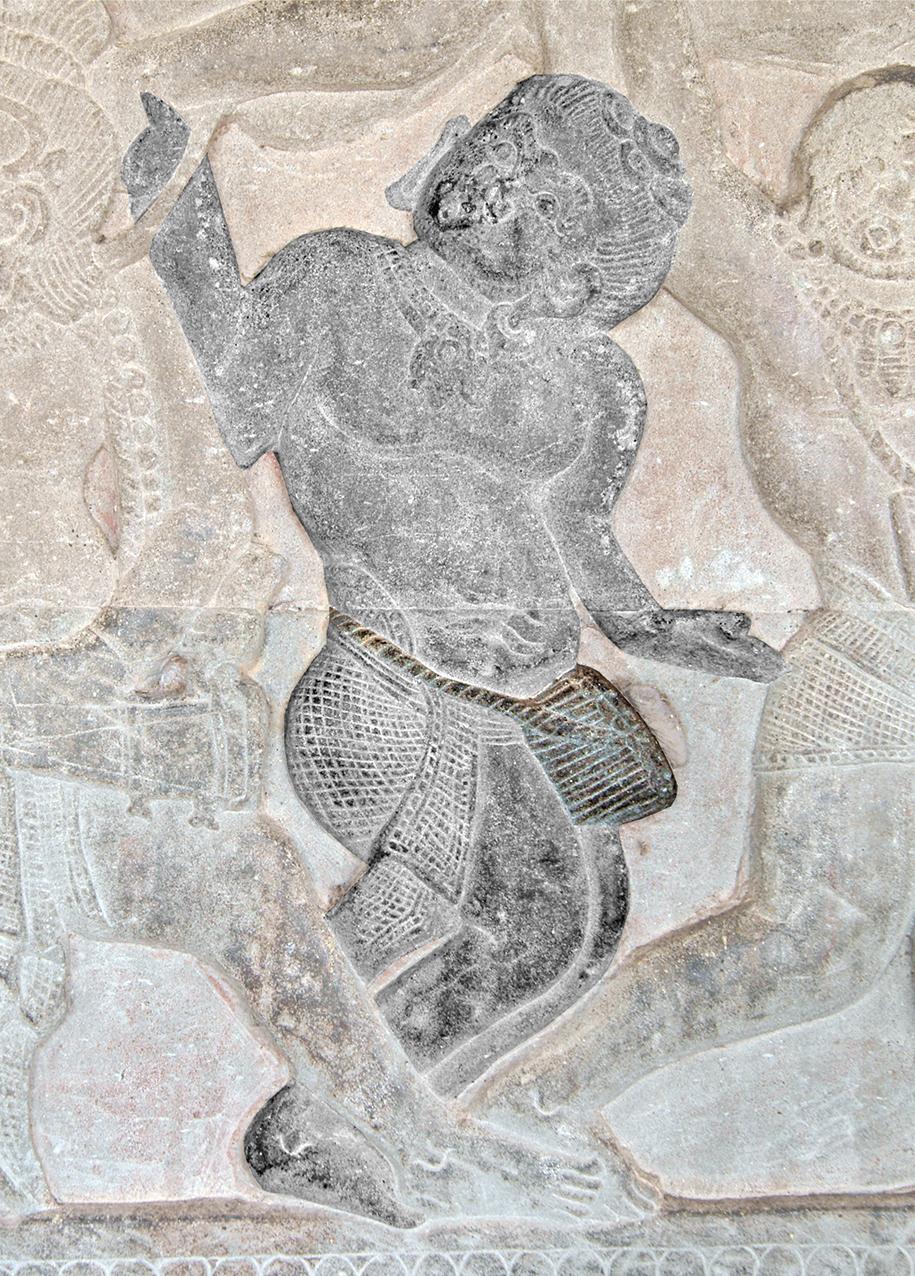Joueur de tambour en gobelet. Angkor Vat, galerie nord, aile ouest. XIIe s.