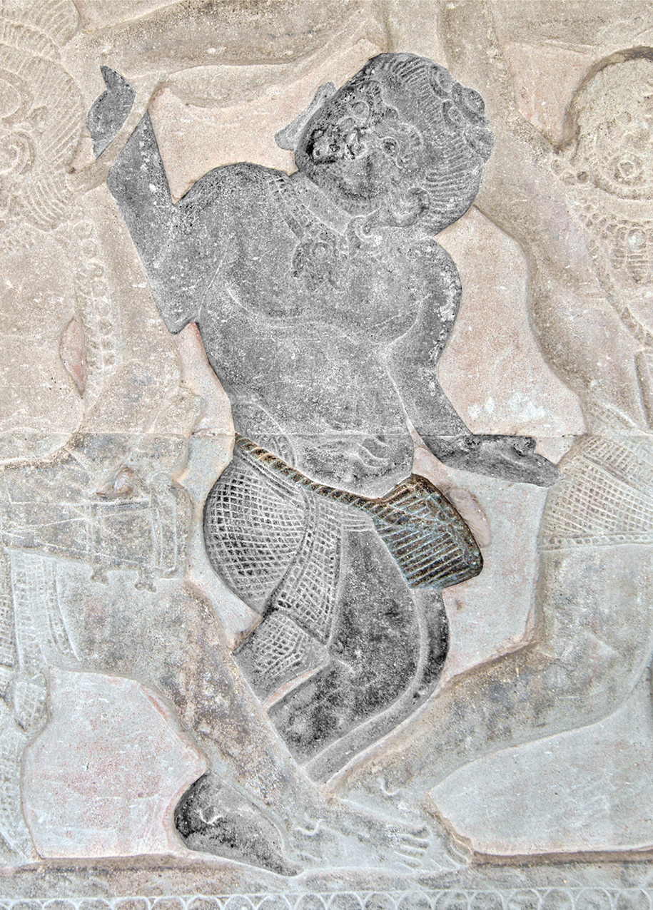 Goblet drum player. Angkor Wat, north gallery, west wing. 12th c.