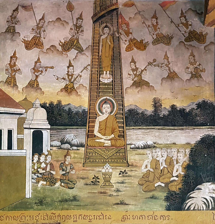 Vat Bakong. Descente du Bouddha de Ciel des Trente-trois. vihāra 1964. Photo octobre 2020.