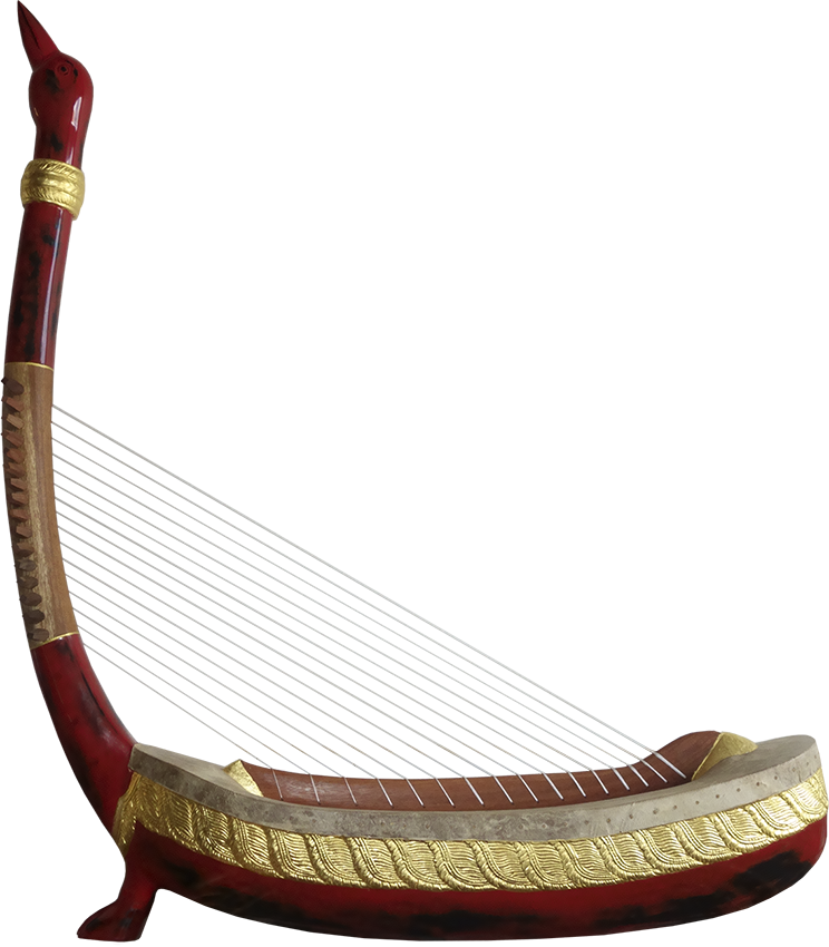 Angkorian harp with a single foot. Project manager: P. Kersalé. Makers: Thean Nga, Leng Pohy. Multilayer acrylic lacquer: Philippe Brousseau. Stringing: P. Kersalé. Siem Reap 2019.