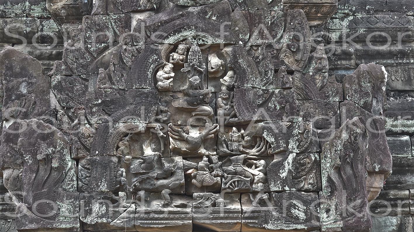 Le fronton de la Bataille de Lanka. Banteay Samrè.