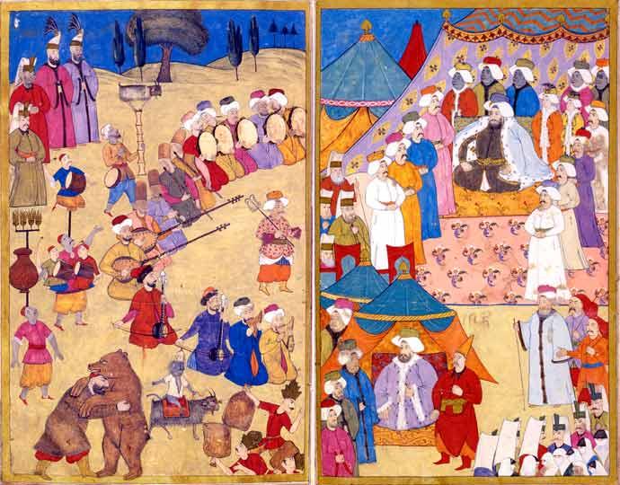 D'après le livre des festivités de Vehbi. Palais de Topkapi, Istanbul. 1720.
