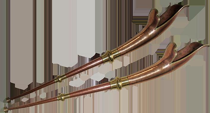 Long metal trumpets.  Project manager: P. Kersalé. Maker: Kiran Kazi Shakya (Kathmandu, Nepal) 2012.
