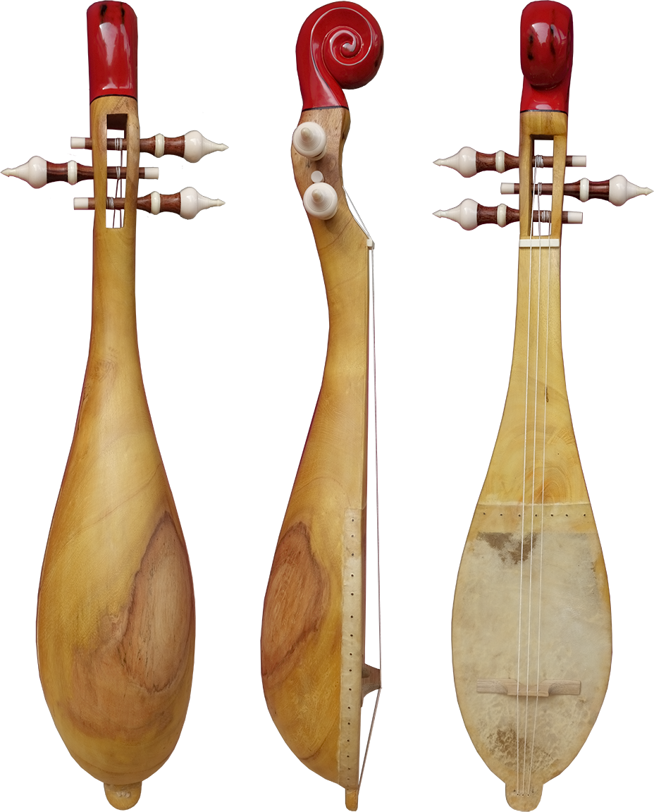Piriform lute without frets. Project manager: P. Kersalé. Makers: Thean Nga, Leng Pohy (scroll). Acrylic lacquer: Philippe Brousseau. Siem Reap 2018.