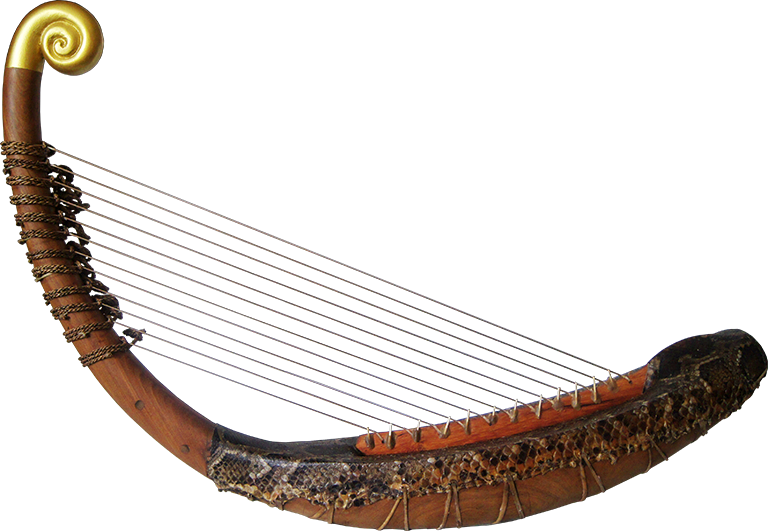 First reconstructed pre-Angkorian harp, without feet. Project manager: Patrick Kersalé. Makers: Keo Sonan Kavei, Kranh Sela. Leaf gilding and stringing: P. Kersalé. Phnom Penh, 2012.