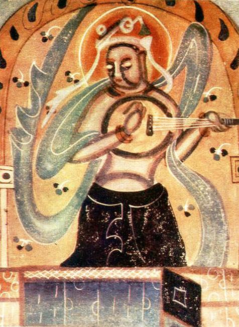 Peinture murale Dunhuang, Wei du Nord (386-534). LIU Dongsheng, Yuan Quanyou, Zhongguo yinyue shi tujian (Guide illustré de l'histoire de la musique chinoise), Beijing, Renmin yinyue, 1988, II.97 p.64.