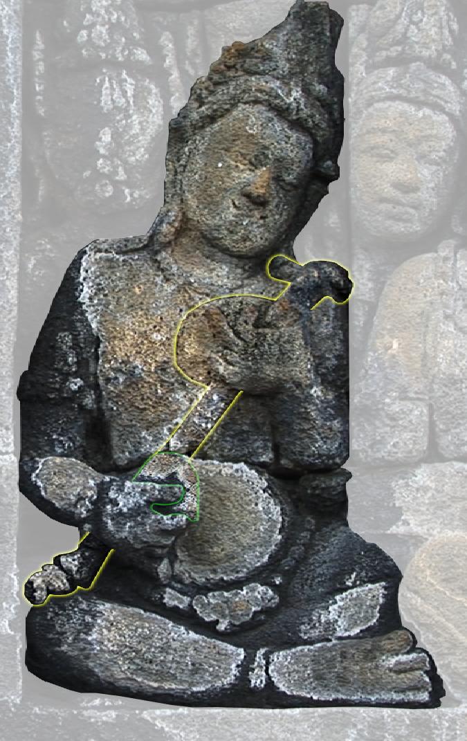 Stick zither with a single resonator. Borobudur. 9e