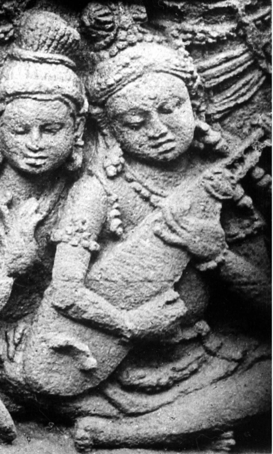 Three-stringed lute. Notice the bridge. Borobudur. 9th c. photo Kassian Céphas, 1890-91.