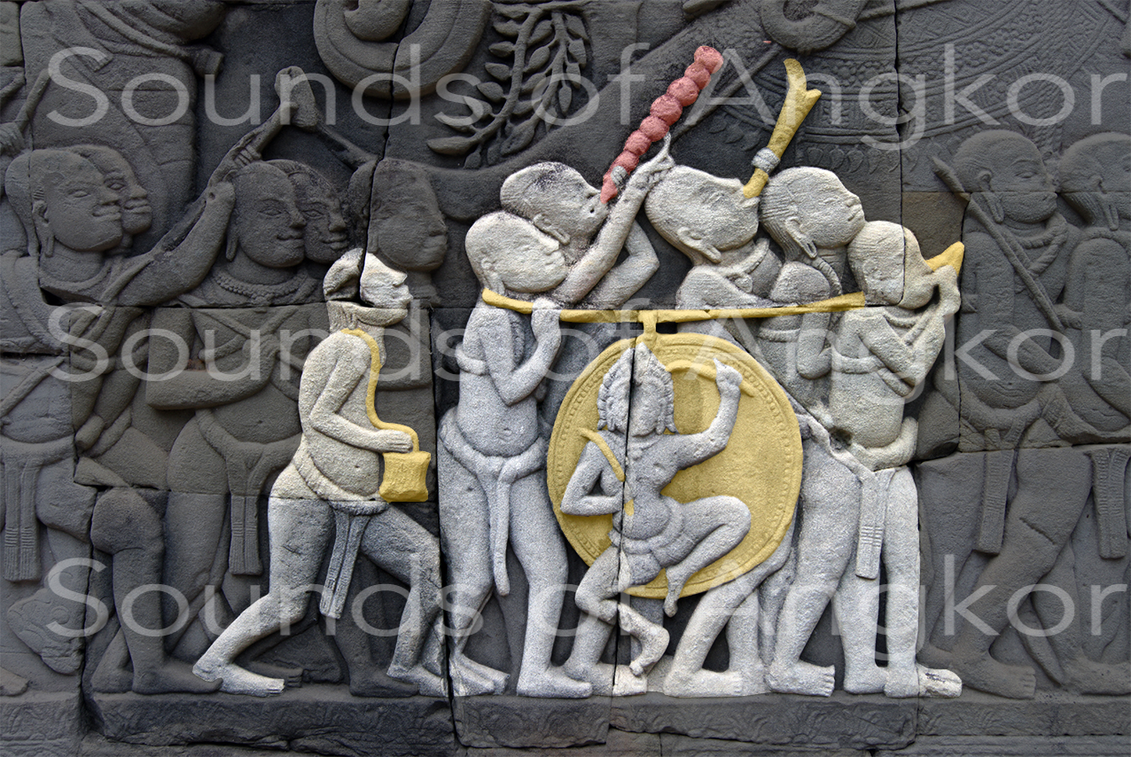 Martial orchestra. Bayon, east outer gallery, south wing.