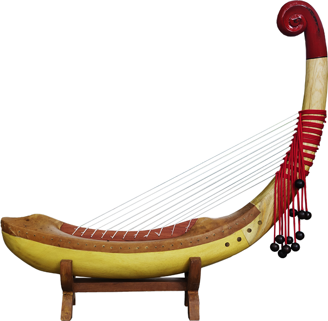 Pre-Angkorian harp without feet on a stand. Project manager: Patrick Kersalé. Makers: Thean Nga, Leng Pohy. Acrylic lacquer: Philippe Brousseau. Stringing: P. Kersalé. Siem Reap 2018.