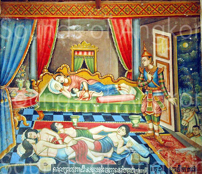 Scène des musiciennes endormies. Vat Chong Kaoh. Comm. Kaoh Andaet. Dist. Srei Santhor. Prov. Kampong Cham. vihāra 1964. Photo © Danielle Guéret 2005.