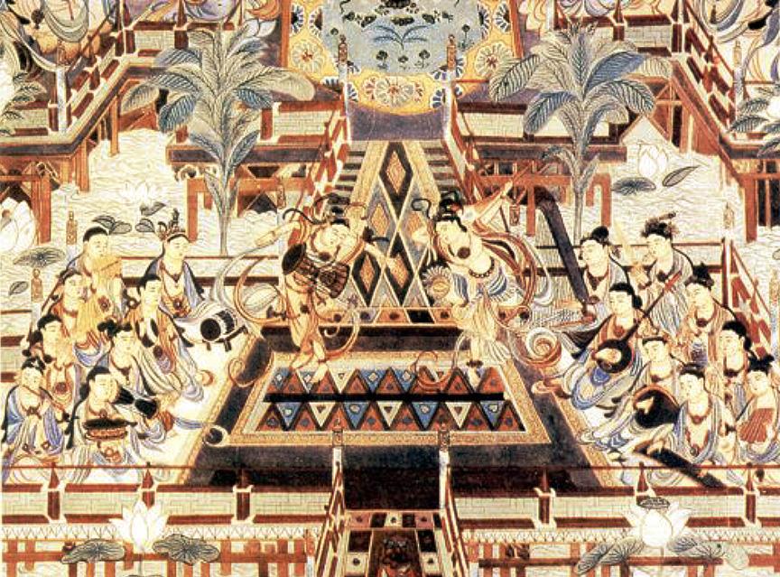 Peinture murale. Dunhuang, époque Tang (618-907). LIU Dongsheng, Yuan Quanyou, Zhongguo yinyue shi tujian (Guide illustré de l'histoire de la musique chinoise), Beijing, Renmin yinyue, 1988, III.9 p.80