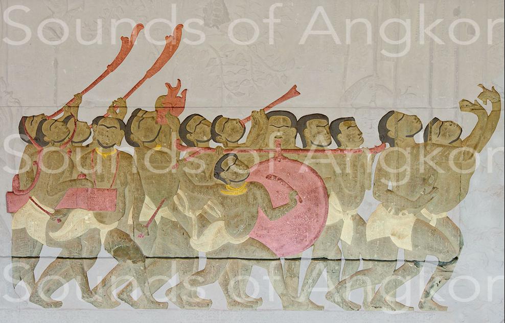 Orchestre de parade martiale. Instruments colorisés. Angkor Vat, troisième enceinte, galerie sud, aile ouest.