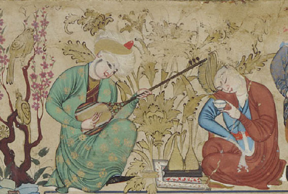 Persian lute. Miniature of Muhammad-Sharif Musawwir from a copy of The Seated Princess, ca. 1600, maybe from Bokhara. The Smithsonian Institute.