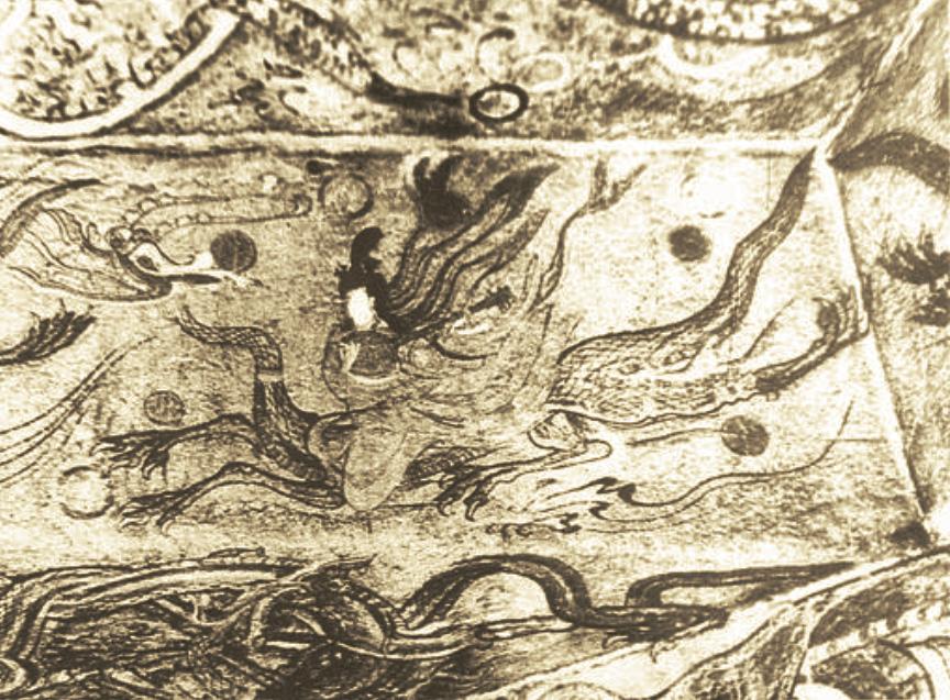 Peinture murale. Tombe de Ji'an, province du Liaoning, Liaoning Ji'an gumo bihua, IV—Ve siècle, ange chevauchant un dragon en jouant du luth à long manche et caisse ronde. LIU Dongsheng, Yuan Quanyou, Zhongguo yinyue shi tujian…