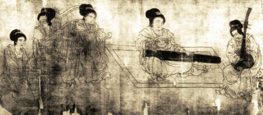 Peinture de Zhou Wenju (c. 905), « Scène au palais », époque Cinq Dynasties (907-960). LIU Dongsheng, Yuan Quanyou, Zhongguo yinyue shi tujian (Guide illustré de l'histoire de la musique chinoise), Beijing, Renmin yinyue, 1988, ill. 10.