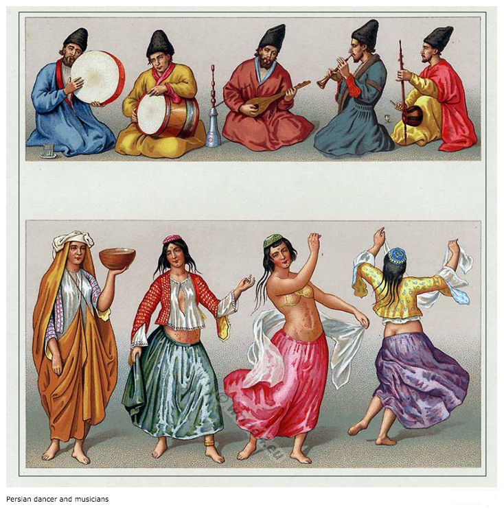 Persian dancers and musicians. 16th century.