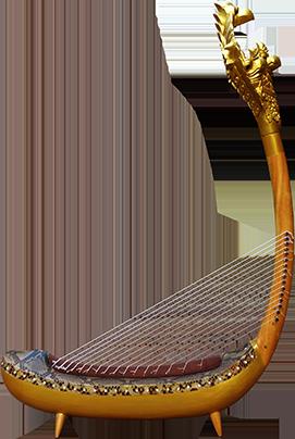 Harpe à tête de Garuda avec quatre pieds. Maître d'œuvre/ouvrage : P. Kersalé. Facteurs : Keo Sonan Kavei, Kranh Sela. Cordage et dorure : P. Kersalé. Phnom Penh 2016.