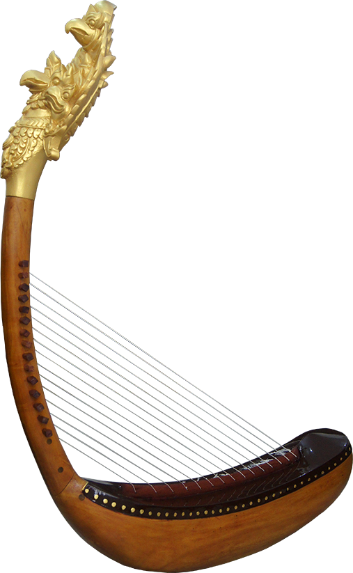 First Garuda harp reconstructed, without feet. Project manager: P. Kersalé. Makers: Keo Sonan Kavei, Kranh Sela. Stringing and gilding: P. Kersalé. Phnom Penh 2012.