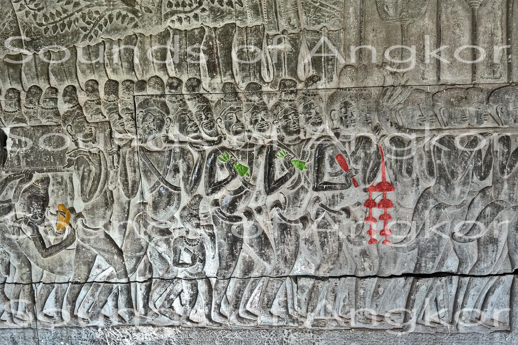 Les brahmanes accompagnant le feu sacré au son des arbres à cloches, des cloches et des textes sacrés. Angkor Vat, galerie sud, travée ouest.