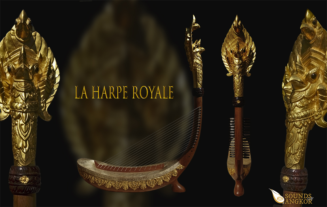 """Harp with Garuda head and a single foot. It is called """"Royal Harp"""". Project manager: P. Kersalé. Factors: Leng Pohy, Thean Nga. Multilayer acrylic lacquer: Philippe Brousseau. Stringing & gilding: P. Kersalé. Siem Reap 2019."""