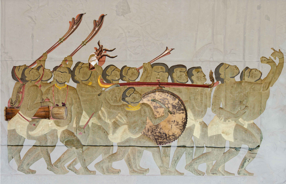 Martial parade orchestra. Replaced instruments. Angkor Wat, third enclosure, south gallery, west wing.