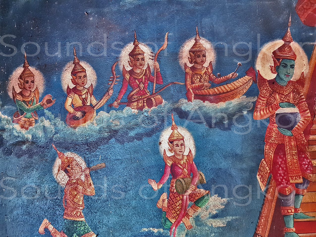 Wat Lolei. Wat Lolei. Bakong District. Siem Reap Prov. Descent of the Buddha from the sky of the thirty-three gods welcomed by musicians. 2020.