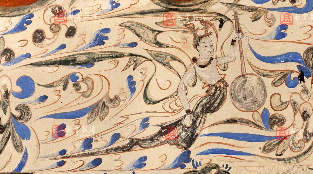 Peinture murale Dunhuang. Apsara avec un luth à quatre cordes et caisse de résonance circulaire, époque Datong. Grotte de Mogao, chambre 285, mur Sud. (538-548)