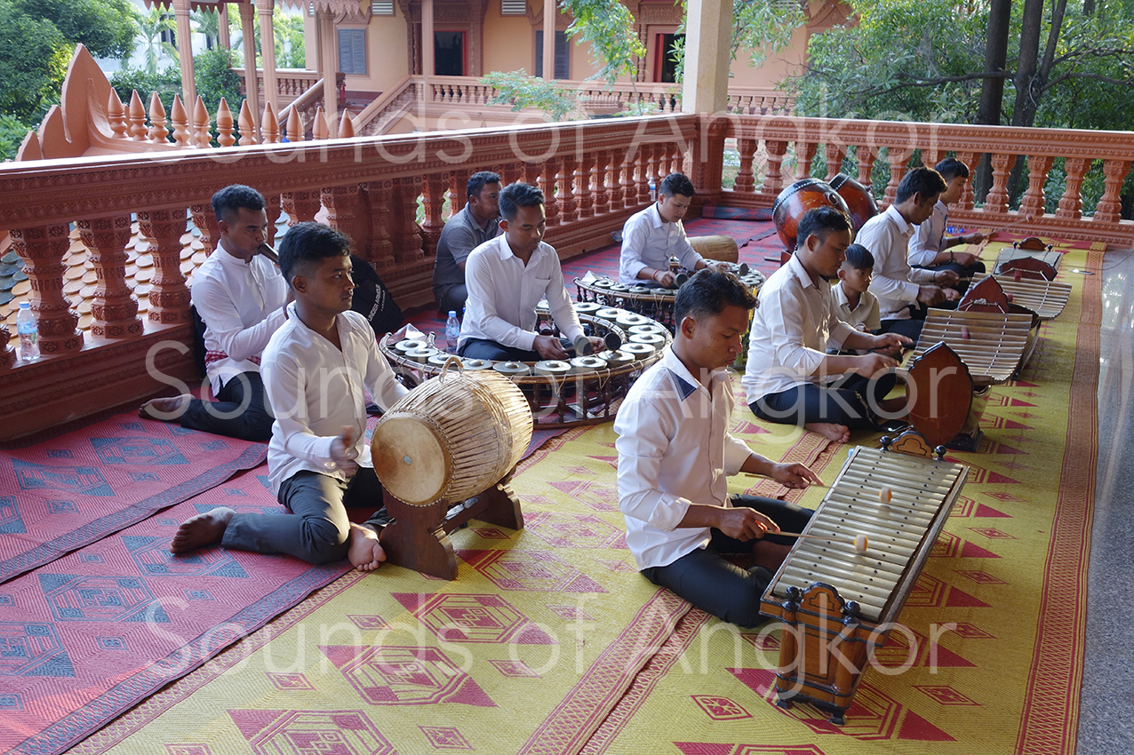 Positioning of the two roneat in the pin peat orchestra. Vat Reach Bo, Siem Reap, during Pchum Ben, 2020.