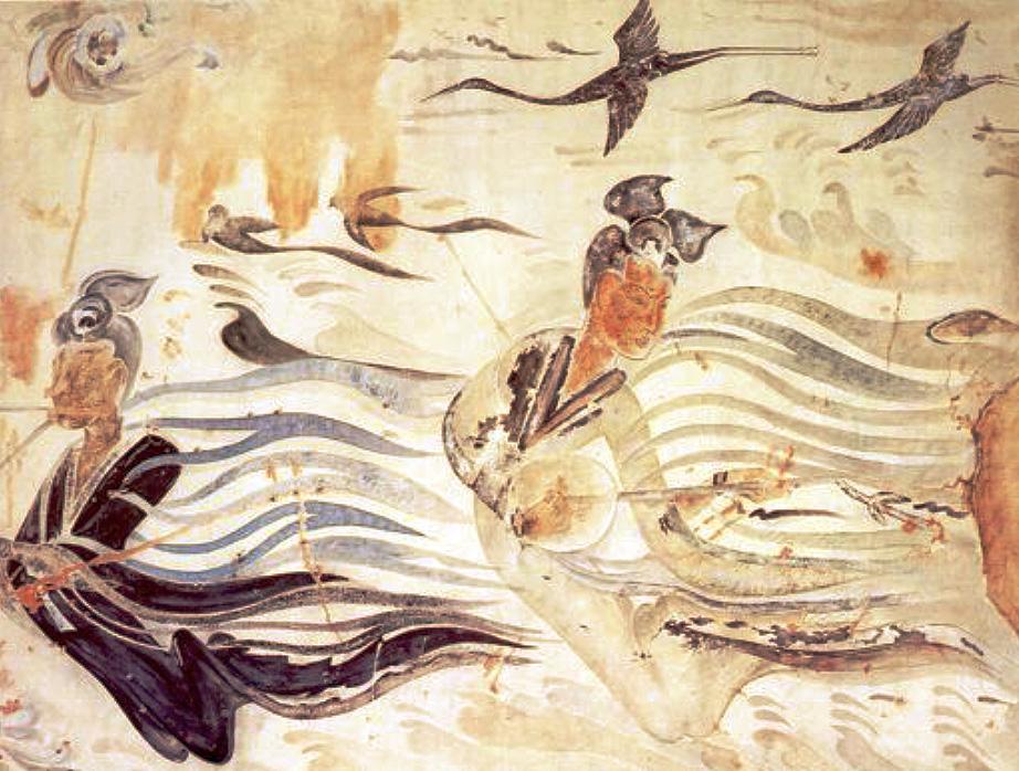 Peinture murale, époque Wei du Nord (386-534). LIU Dongsheng, Yuan Quanyou, Zhongguo yinyue shi tujian (Guide illustré de l'histoire de la musique chinoise), Beijing, Renmin yinyue, 1988, II.94 p.63.