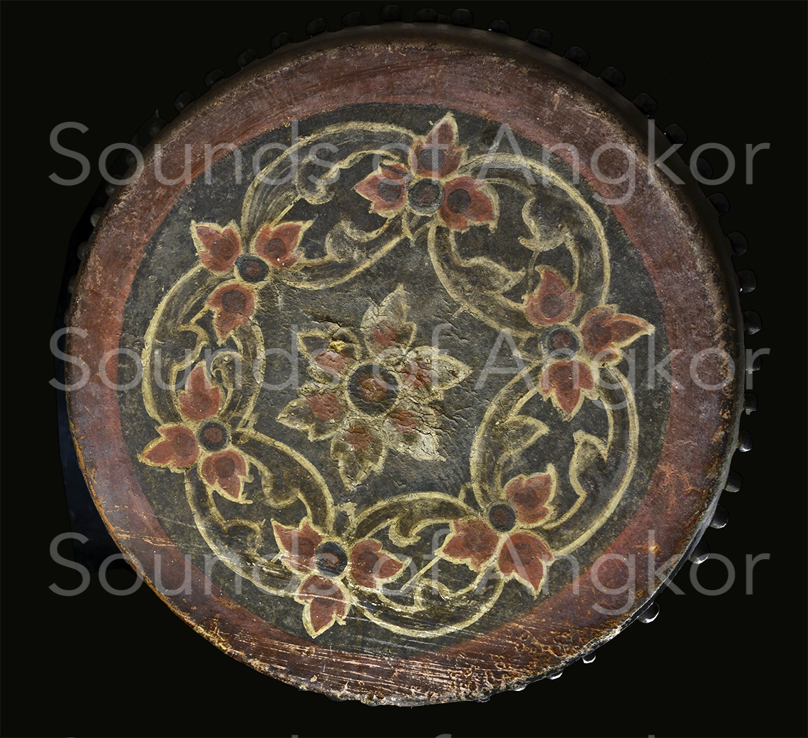 Martial drum with floral decoration. Bangkok National Museum.