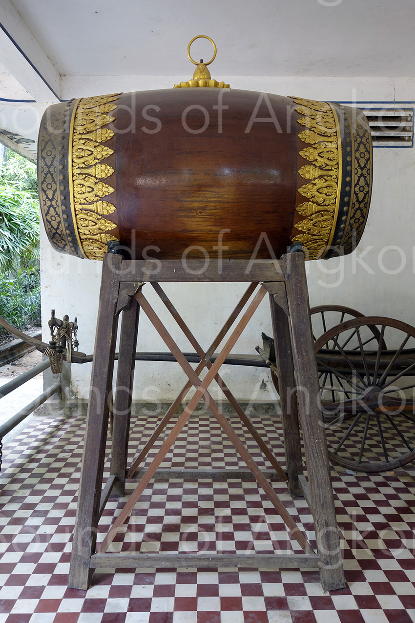 The new drum at Wat Reach Bo installed in the sala. 2017.