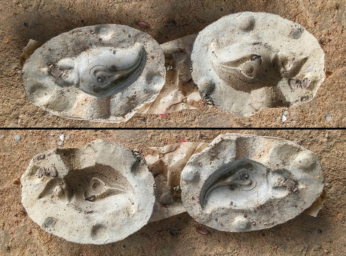 Moule en élastomère réalisé à partir du grelot original. Selon l'orientation de la photo et des ombres, on perçoit l'image en négatif ou en positif.