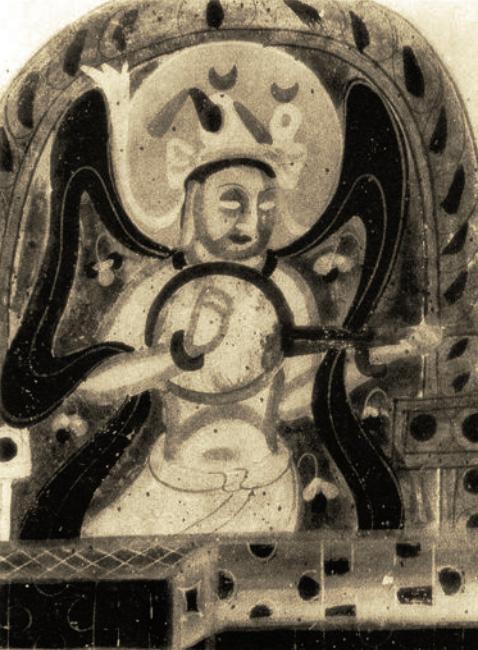 Peinture murale Dunhuang, Wei du Nord (386-534). LIU Dongsheng, Yuan Quanyou, Zhongguo yinyue shi tujian (Guide illustré de l'histoire de la musique chinoise), Beijing, Renmin yinyue, 1988, II.96 p.64.