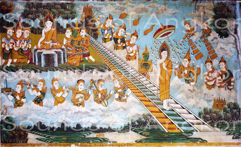 Vat Kong Moch, Siem Reap. Descente du Bouddha du ciel des trente-trois dieux. Plan large. Peinture vers 1953. Photo 2018.