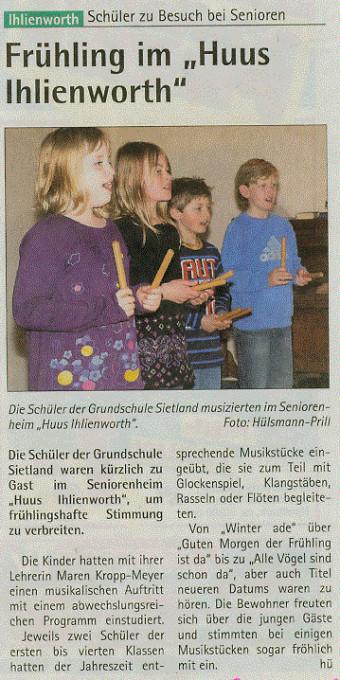 Hadler Kurier, 19.4.: Huus Ihlienworth