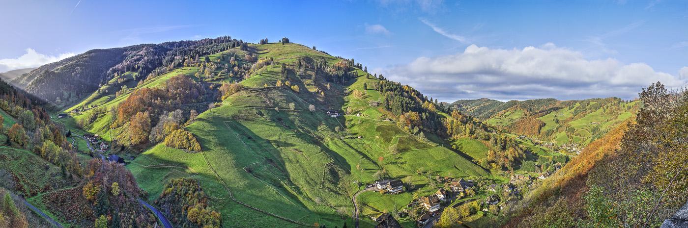 Forêt Noire Todnau- panoramique HDR - tirage 310mm X 860mm pleine feuille ou 200mm X 575mm avec marges - 130€ réf: payspan-001