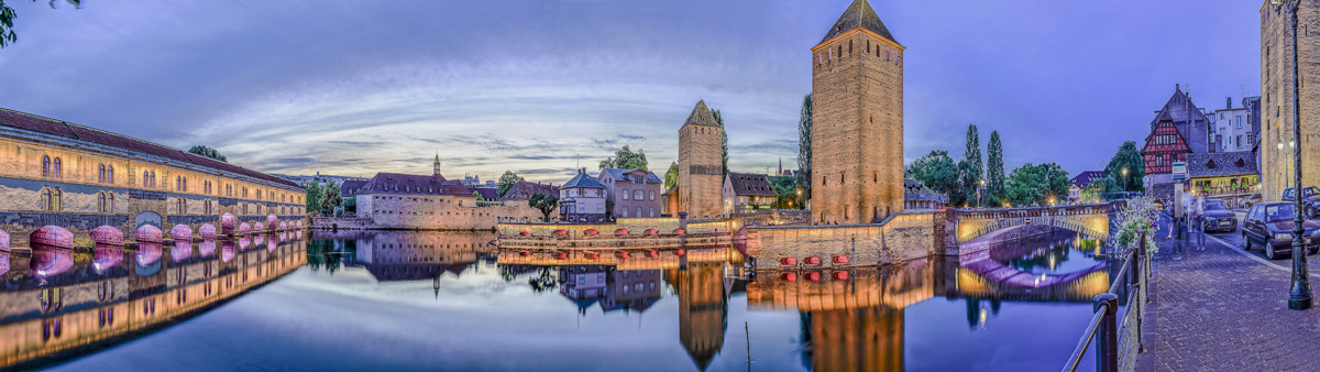 Strasbourg Ponts Couverts - panoramique HDR - tirage 310mm X 860mm pleine feuille ou 200mm X 575mm avec marges - 130€ réf: straspan-002