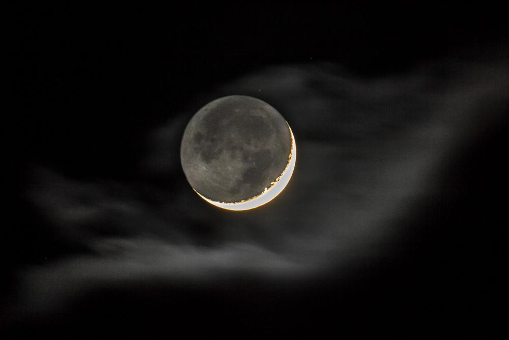 2020-02-26 à 20h39 heure locale française. Lune cendrée à son 3ème jour, éclairement 7,7% _ 600mm EOS full frame