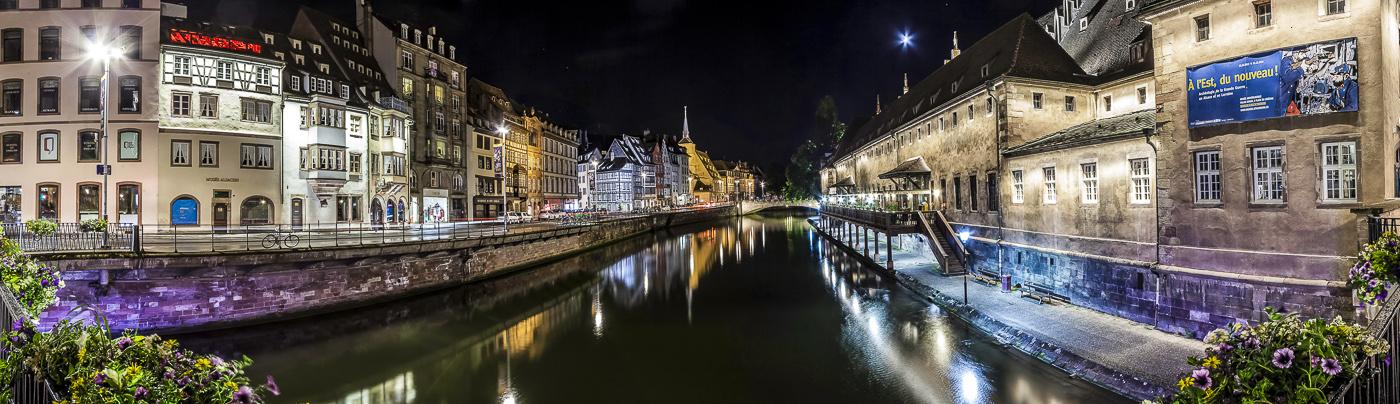 Strasbourg les quais - panoramique HDR - tirage 300mm X 860mm pleine feuille ou 180mm X 575mm avec marges - 130€ réf: straspan-009