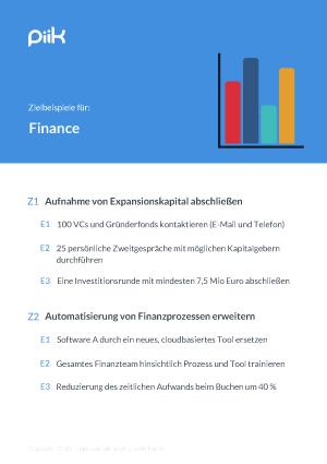 Beispiel für OKR Ziele - Finanzen (piik.com)
