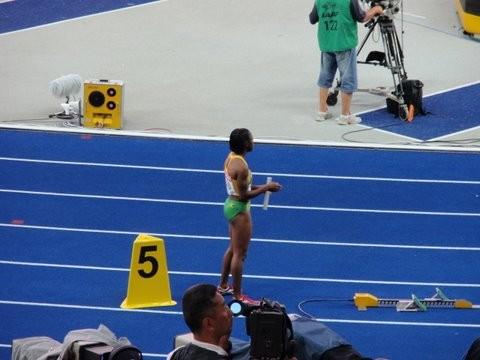 Am Start über 4 x 100 m (Jamaika, die Siegerstaffel)