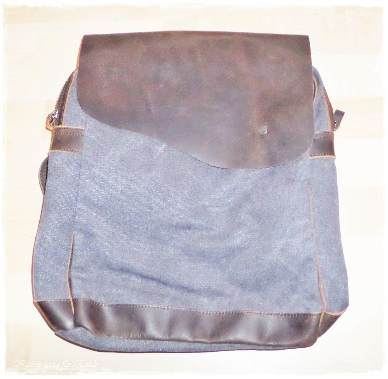 Rucksack aus Baumwolle + Leder