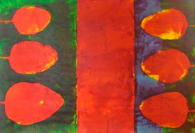 Varanasi 2007  Acryl auf Papier 58 x 85 cm