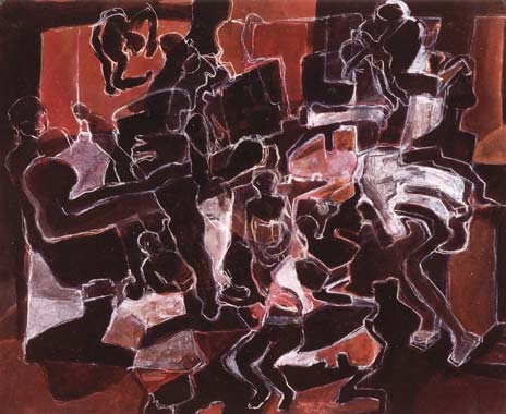 Rosenkranz 1995  Pigment/Kreide auf Papier 52 x 65 cm