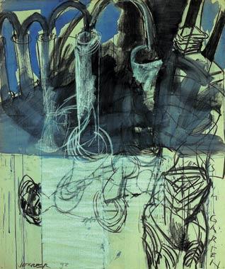 Venus Im Garten 1998  Kohle/Kreide/Pigment auf Papier 121 x 100 cm